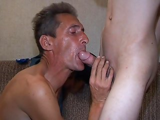 Elder man shows his oral experience during the dong-licking gay action.