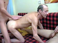 Perverted guys fucking an old experienced gay