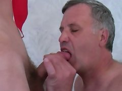 Sex crazed mature gay sucks and gets fucked before swallowing twinks\' fresh cum