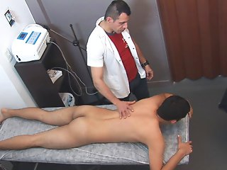 The dark, sexy boy had been having some back pains and that's how he ended up in this masseur's room. Not only he got rid of the pains, some