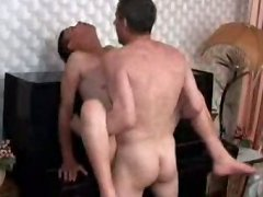 Old guy enjoys drilling his young lover's tight ass very much